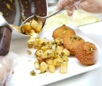 Falafel Plate preparation